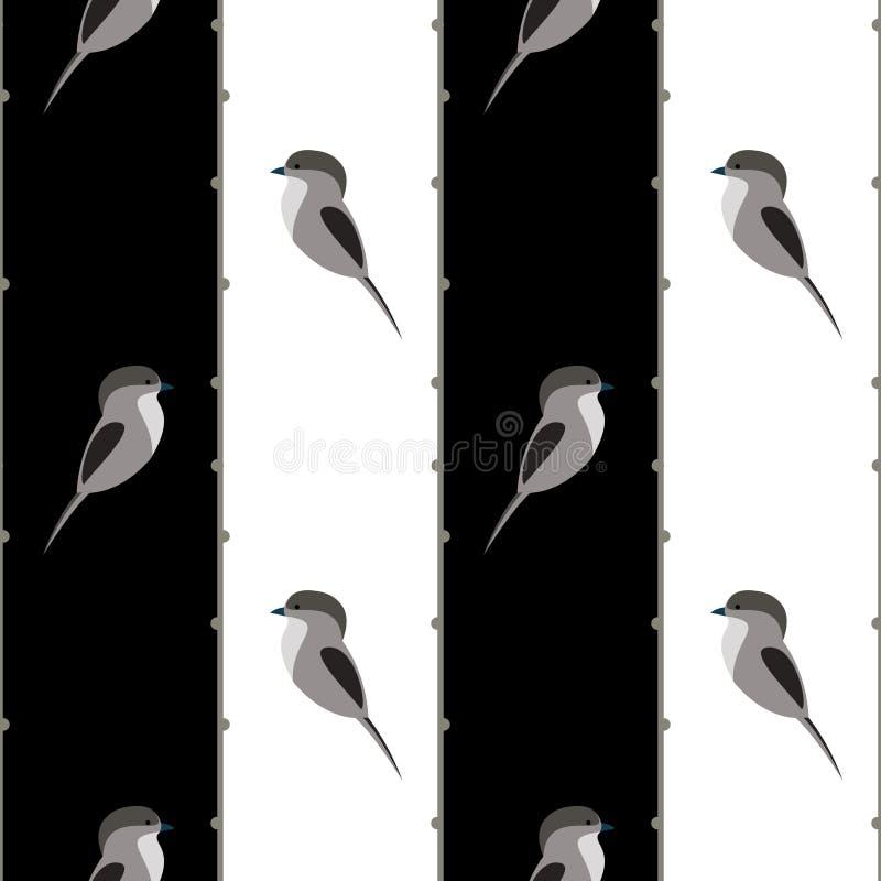 Naadloos vectorpatroon met dieren Symmetrische zwart-witte achtergrond met vogels royalty-vrije illustratie