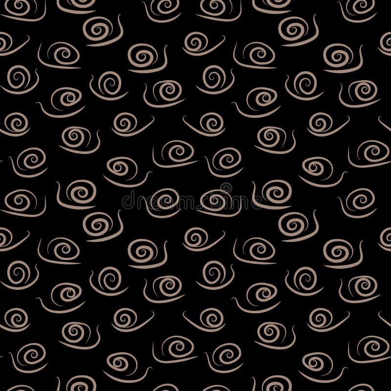 Naadloos vectorpatroon met eenvoudige gestileerde slakken op donkere achtergrond royalty-vrije illustratie