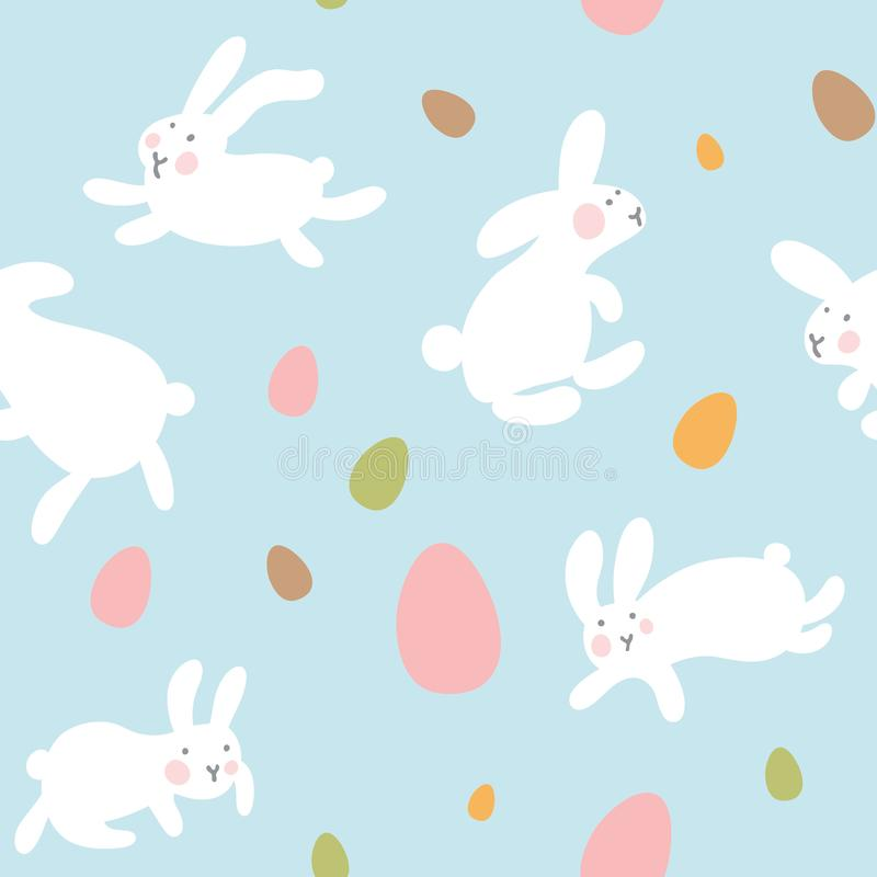 Naadloos vectorpatroon met eieren en konijnen op lichtblauwe achtergrond De hazen springen allen rond en verzamelen paaseieren Ka royalty-vrije stock afbeelding