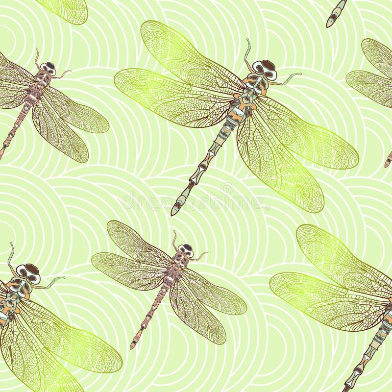 Naadloos vectorpatroon met glanzende libel vector illustratie