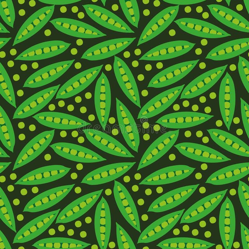 Naadloos vectorpatroon met groene erwten en peulen op donkere achtergrond royalty-vrije illustratie
