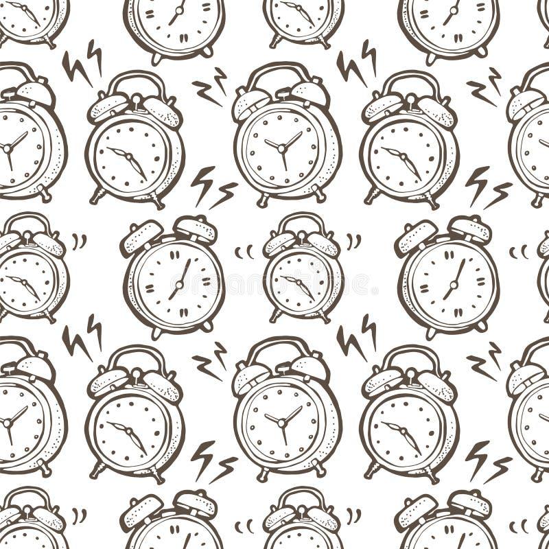Naadloos vectorpatroon met hand getrokken bellende wekkers royalty-vrije illustratie