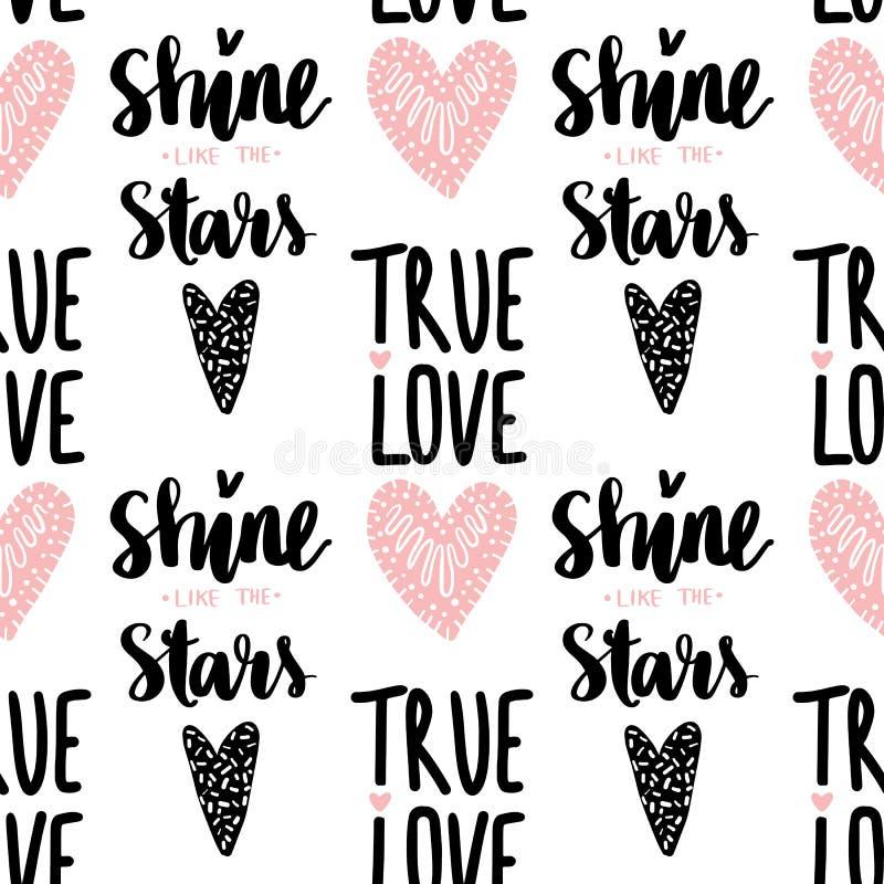 Naadloos vectorpatroon met harten en uitdrukkings Ware liefde royalty-vrije illustratie