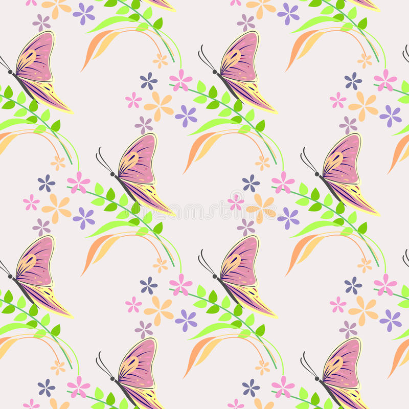 Naadloos vectorpatroon met insecten, achtergrond met kleurrijke vlinders, bloemen en takken met bladeren over lichte achtergrond royalty-vrije illustratie