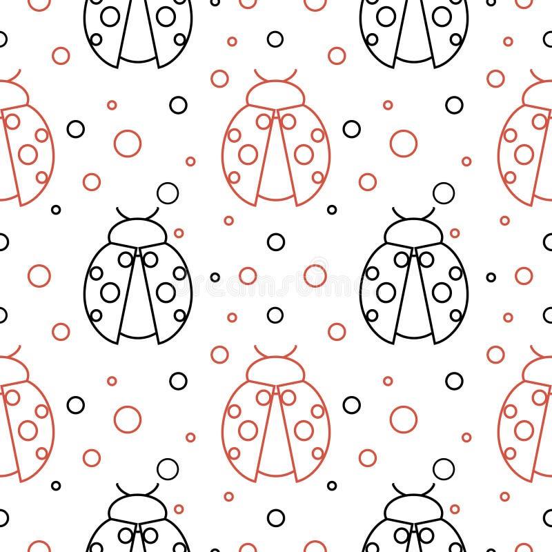 Naadloos vectorpatroon met insecten, symmetrische achtergrond met rode en zwarte lieveheersbeestjes en punten op de witte achterg royalty-vrije illustratie
