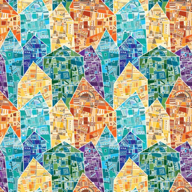 Naadloos vectorpatroon met kleurrijke die huizen als mozaïek met vele geometrische details worden verfraaid stock illustratie