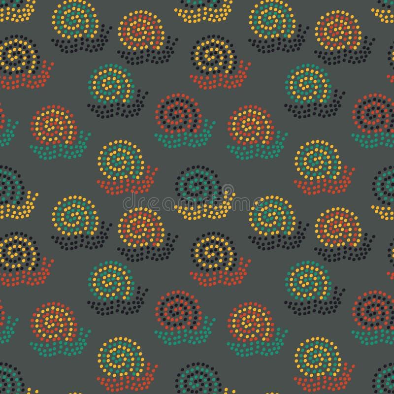 Naadloos vectorpatroon met kleurrijke gestippelde slakken op een donkere achtergrond royalty-vrije illustratie