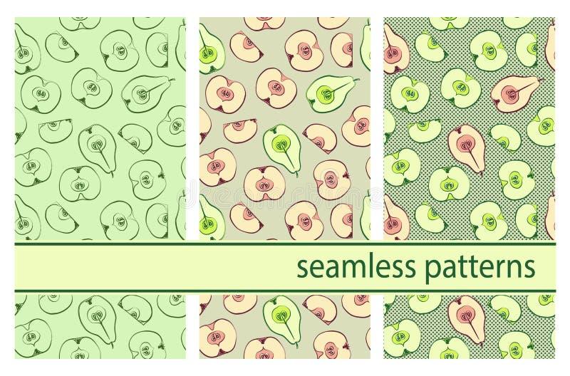Naadloos vectorpatroon met kleurrijke peren stock illustratie