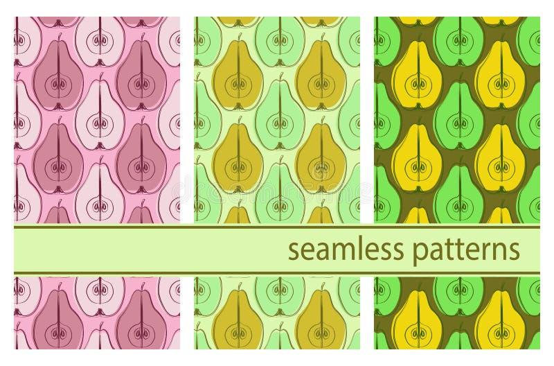 Naadloos vectorpatroon met kleurrijke peren royalty-vrije illustratie