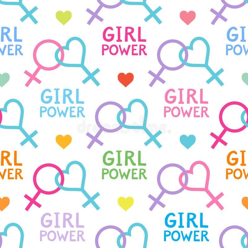 Naadloos vectorpatroon met lesbische en feministische symbolen royalty-vrije illustratie