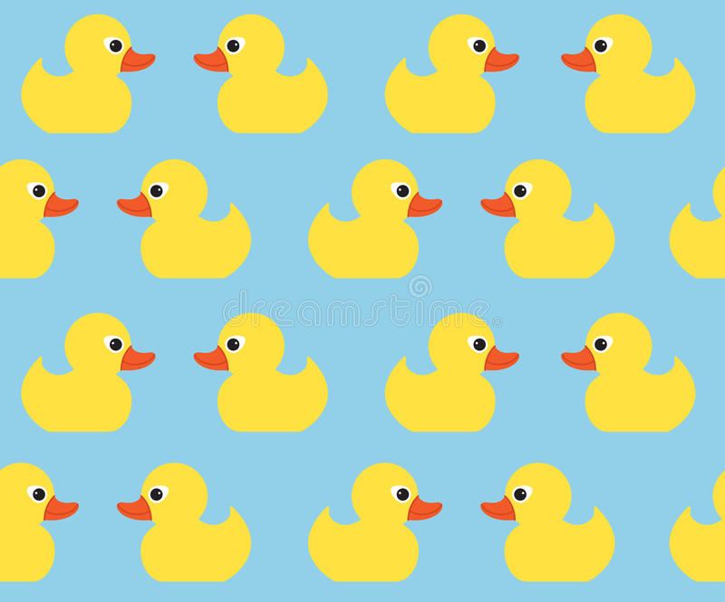 Naadloos vectorpatroon met leuke heldere gele eenden royalty-vrije illustratie