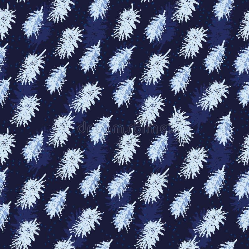 Naadloos vectorpatroon met lichtblauwe veren op donkere indigoachtergrond stock illustratie