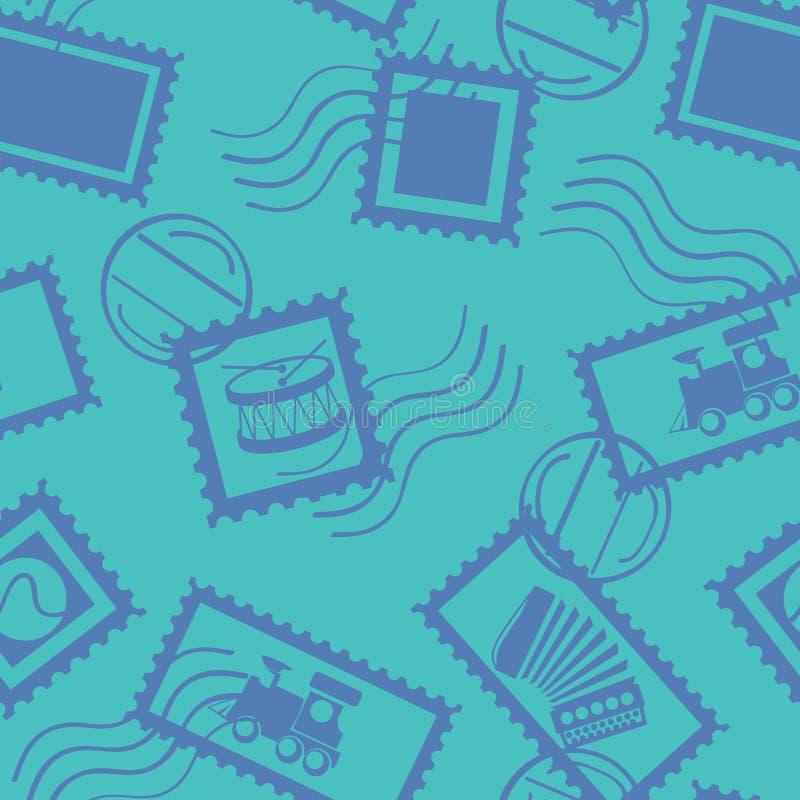 Naadloos Vectorpatroon met Postzegels royalty-vrije illustratie