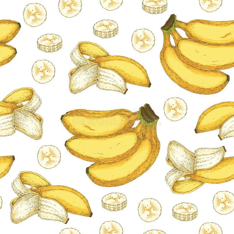 Naadloos Vectorpatroon met Rijpe Gele Banaan stock illustratie