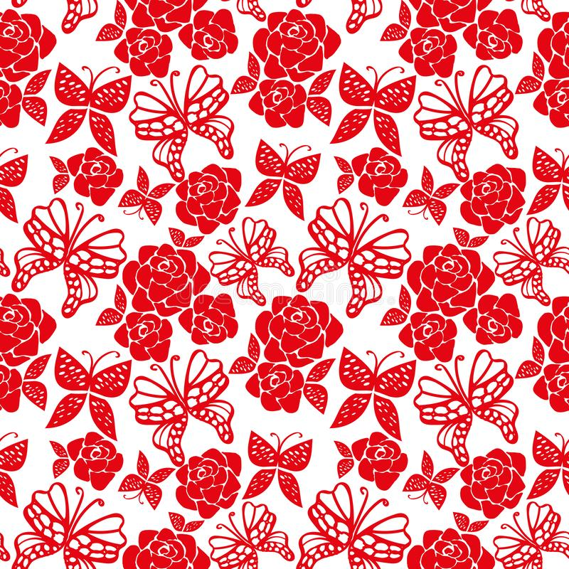 Naadloos vectorpatroon met rode rozen en vlinders op witte achtergrond vector illustratie