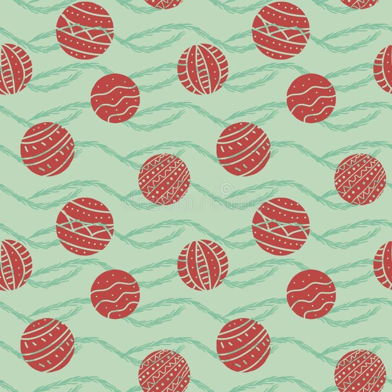 Naadloos vectorpatroon met ronde rode Kerstmisornamenten royalty-vrije illustratie