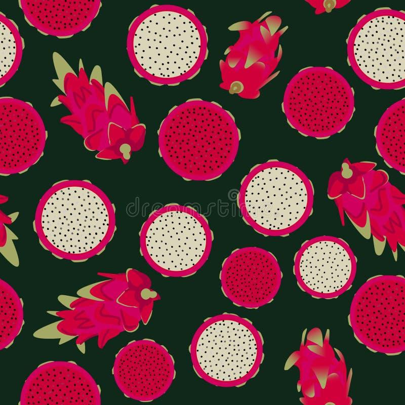 Naadloos vectorpatroon met rood vlees en wit vlees dragonfruits op donkere achtergrond vector illustratie