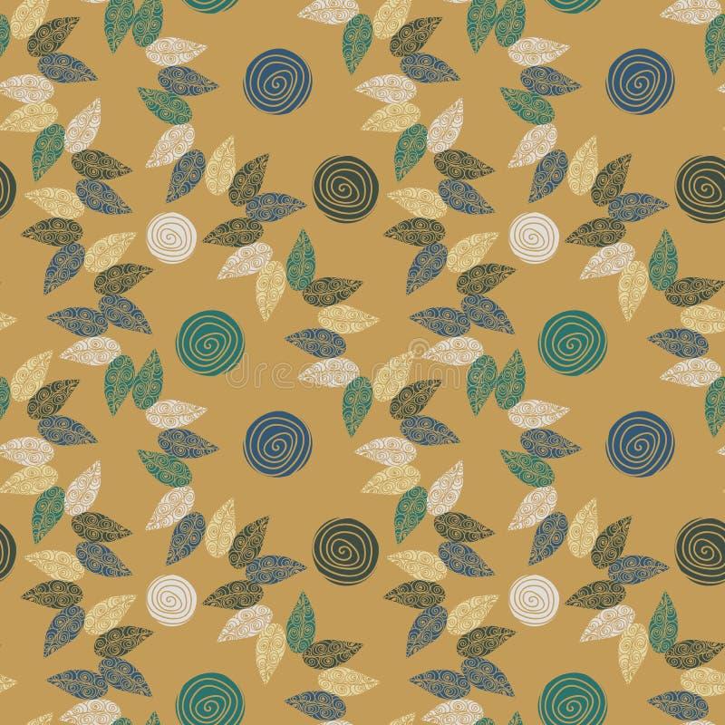 Naadloos vectorpatroon met roze bloemen en bladeren op mosterdachtergrond royalty-vrije illustratie