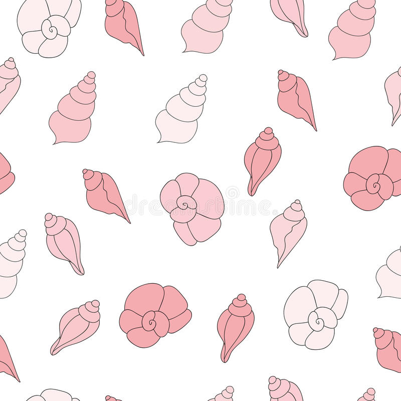 Naadloos vectorpatroon met roze overzeese shells op de witte achtergrond royalty-vrije illustratie