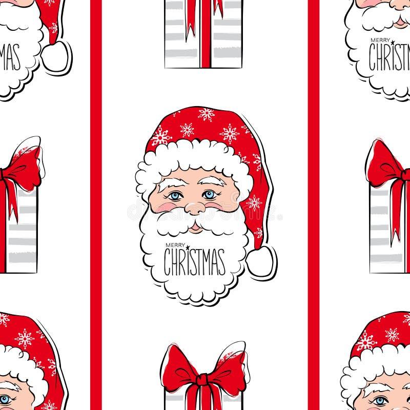 Naadloos vectorpatroon met Santa Claus Vrolijke Kerstmis en de Gelukkige achtergrond van het Nieuwjaar royalty-vrije illustratie