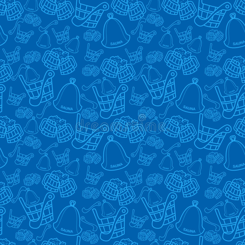 Naadloos vectorpatroon met sauna houten lepel, emmer en hoed op donkerblauwe achtergrond vector illustratie