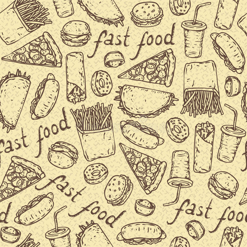 Naadloos vectorpatroon met snel voedsel vector illustratie