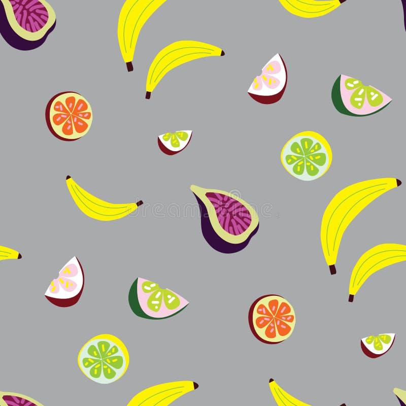 Naadloos vectorpatroon met tropisch fruit royalty-vrije stock foto's