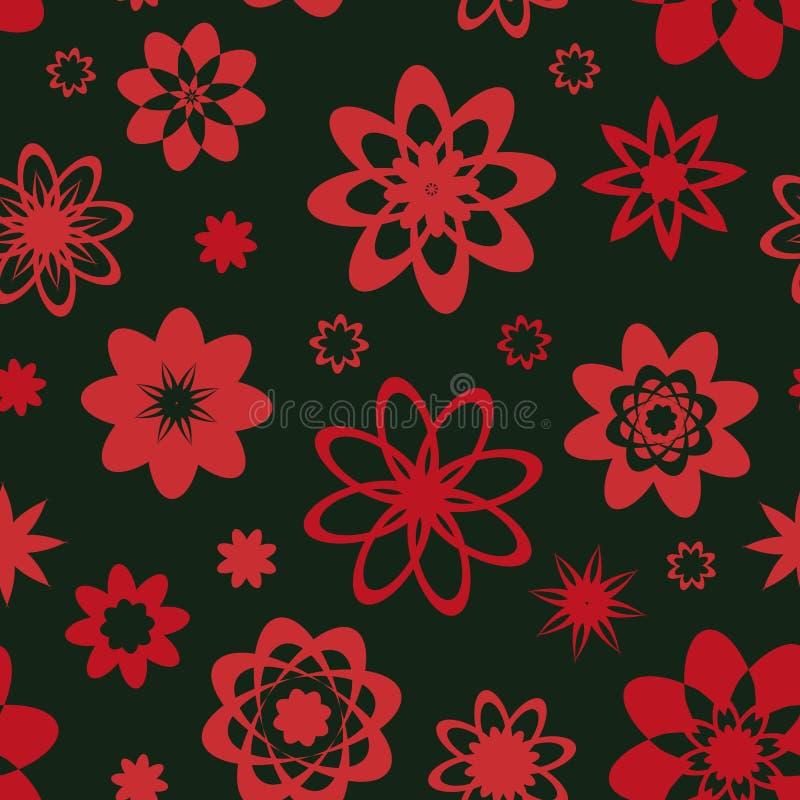 Naadloos vectorpatroon met vereenvoudigde rozeachtige rode bloemvormen royalty-vrije illustratie