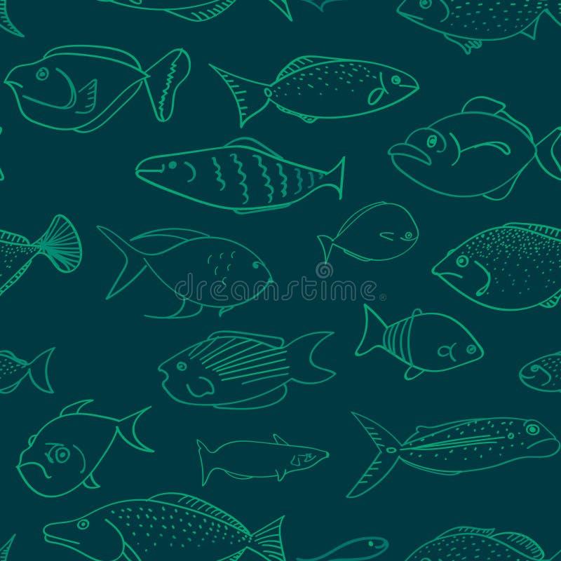 Naadloos vectorpatroon met vissen die verschillende gelaatsuitdrukkingen hebben vector illustratie