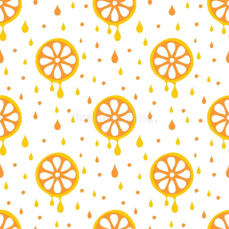 Naadloos vectorpatroon met vruchten Symmetrische achtergrond met sinaasappelen op de witte achtergrond stock illustratie