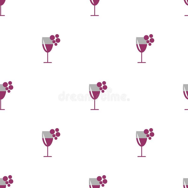 Naadloos vectorpatroon met wijnglazen met rode wijn en bossen van druif op de witte achtergrond stock illustratie