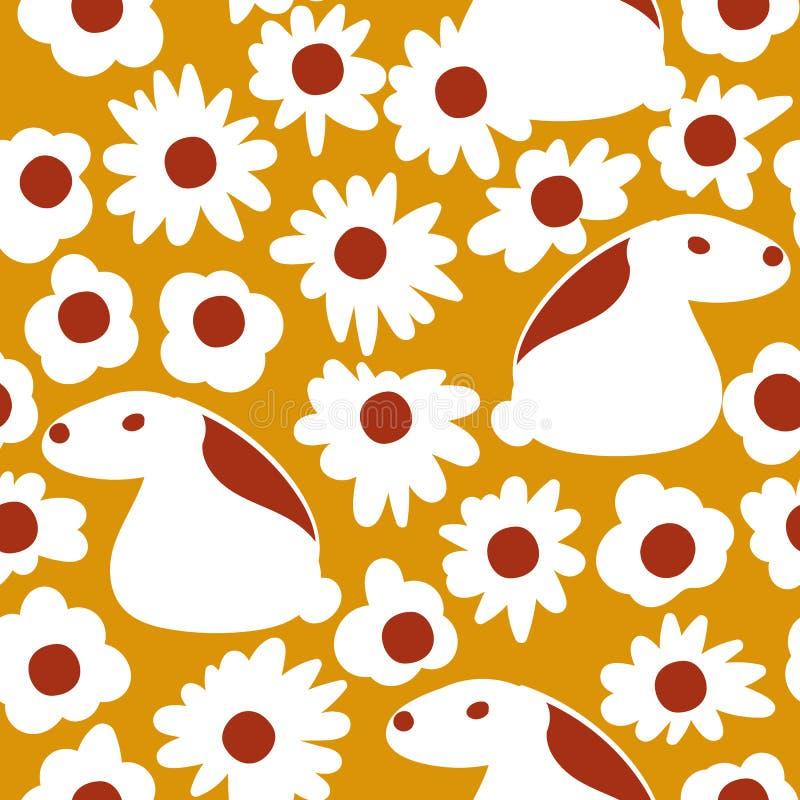 Naadloos vectorpatroon met witte konijnen op een madeliefjeweide royalty-vrije illustratie