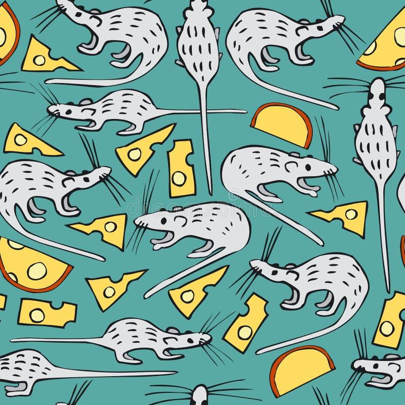Naadloos Vectorpatroon met Witte Ratten en Kaas royalty-vrije illustratie