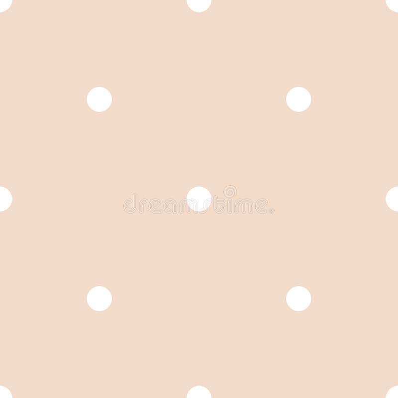Naadloos vectorpatroon met witte stippen op een roze achtergrond van de tegelpastelkleur royalty-vrije illustratie