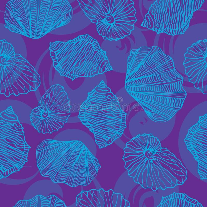 Naadloos vectorpatroon in shells royalty-vrije illustratie