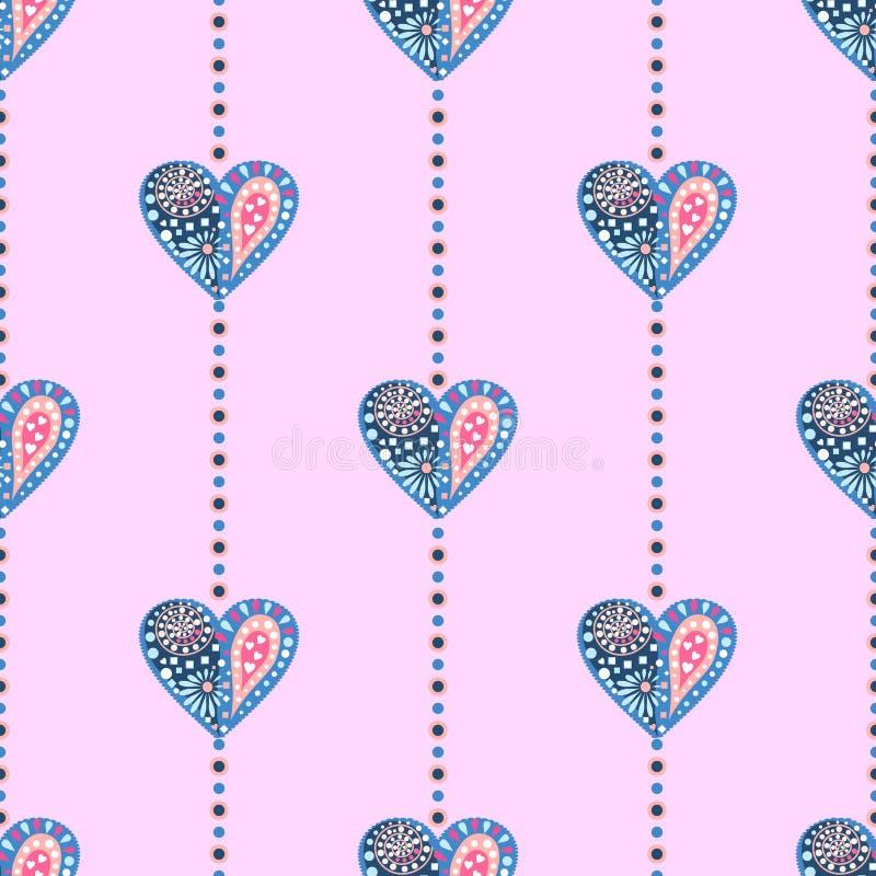 Naadloos vectorpatroon Symmetrische achtergrond met kleurrijke decoratieve harten op de roze achtergrond vector illustratie