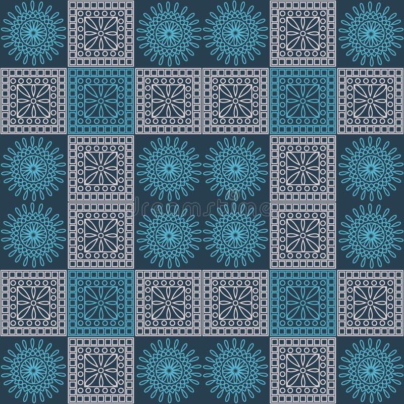 Naadloos vectorpatroon Symmetrische geometrische achtergrond met blauwe en lichtrose vierkanten en cirkels op donkerblauwe achter royalty-vrije illustratie