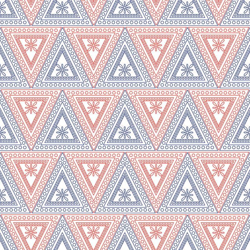 Naadloos vectorpatroon Symmetrische geometrische achtergrond met rode en blauwe driehoeken op de witte achtergrond Decoratief orn royalty-vrije illustratie