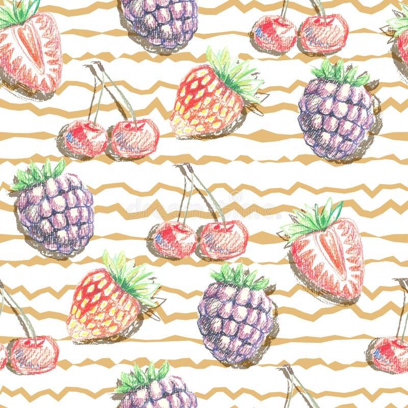Naadloos vectorpatroon van bessen Hand getrokken illustratie stock fotografie
