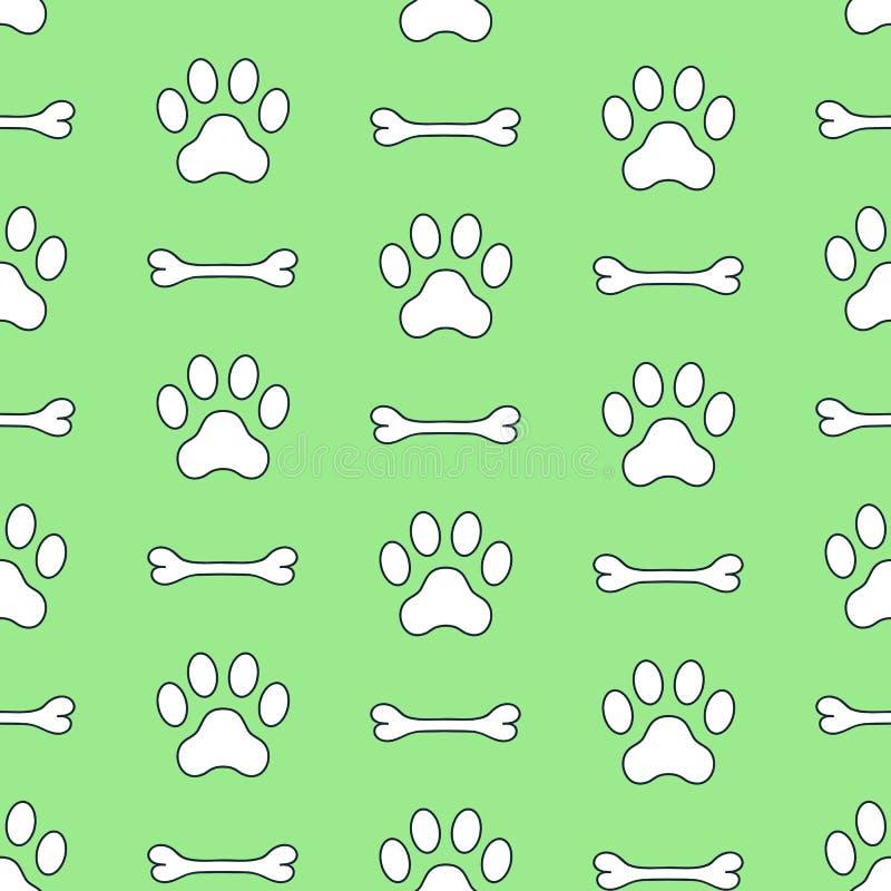 Naadloos vectorpatroon van hondpoten en been Pawprints Dierlijke voetafdruk royalty-vrije illustratie