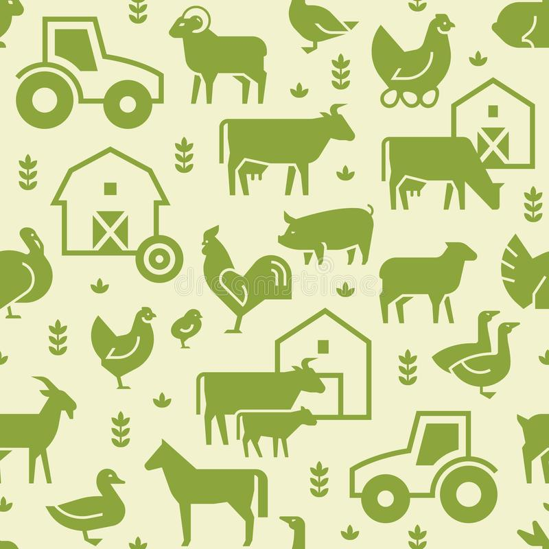 Naadloos vectorpatroon van landbouwbedrijfdieren, gebouwen, materiaal en andere elementen in groen royalty-vrije illustratie