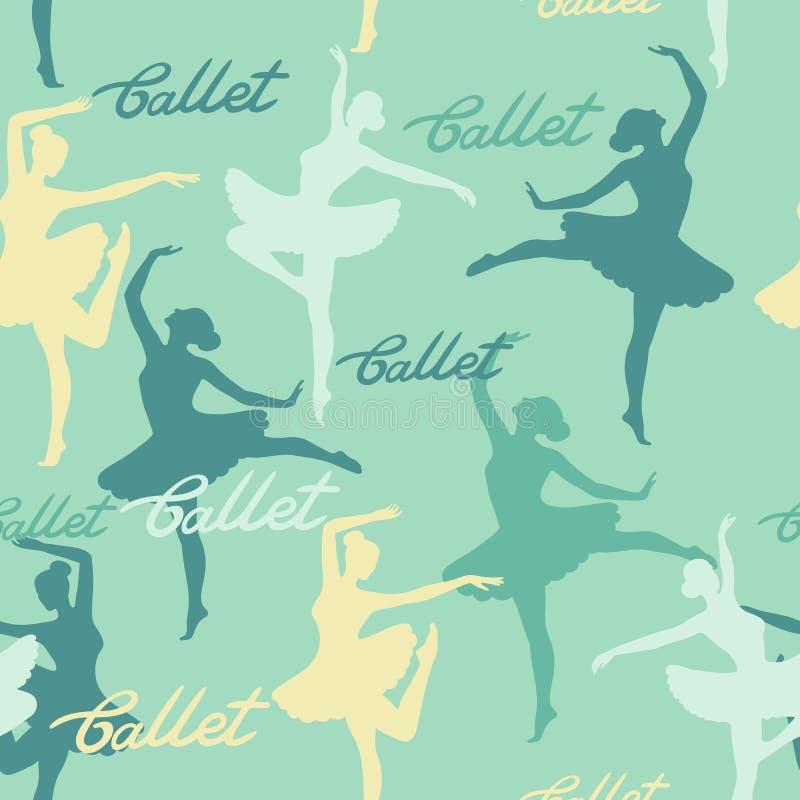 Naadloos vectorpatroon van silhouetten van dansende ballerina's Het van letters voorzien ballet vector illustratie