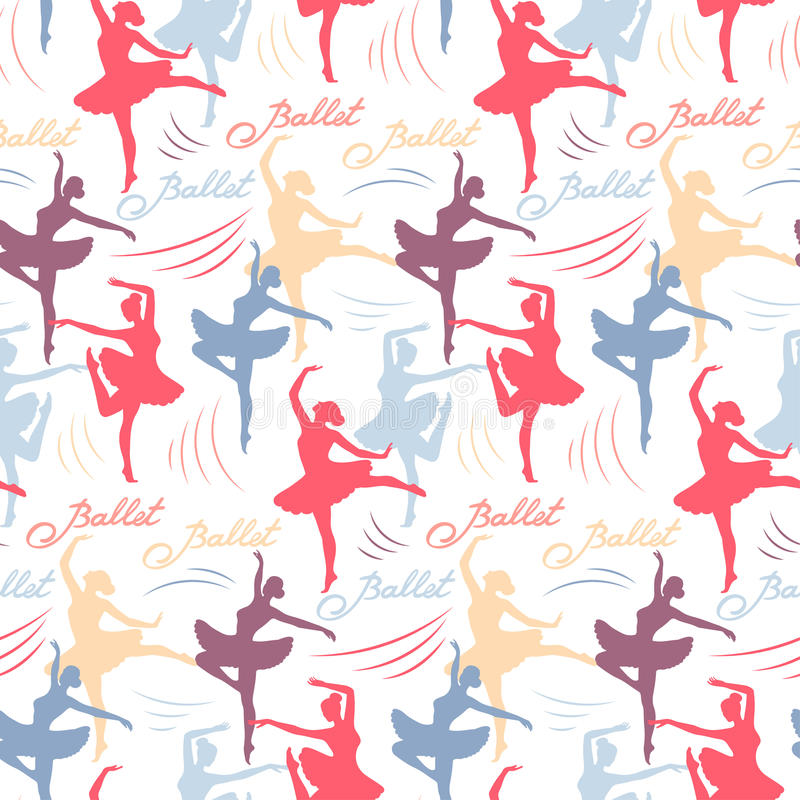 Naadloos vectorpatroon van silhouetten van dansende ballerina's Het van letters voorzien ballet royalty-vrije illustratie
