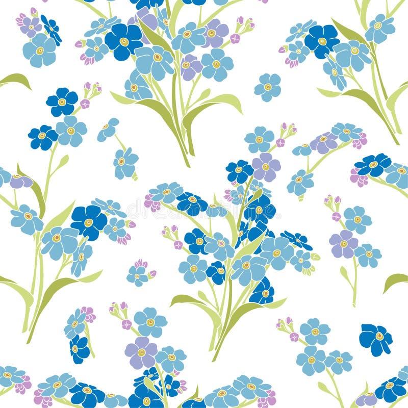 Naadloos vectorpatroon - vergeet-mij-nietjebloemen royalty-vrije illustratie
