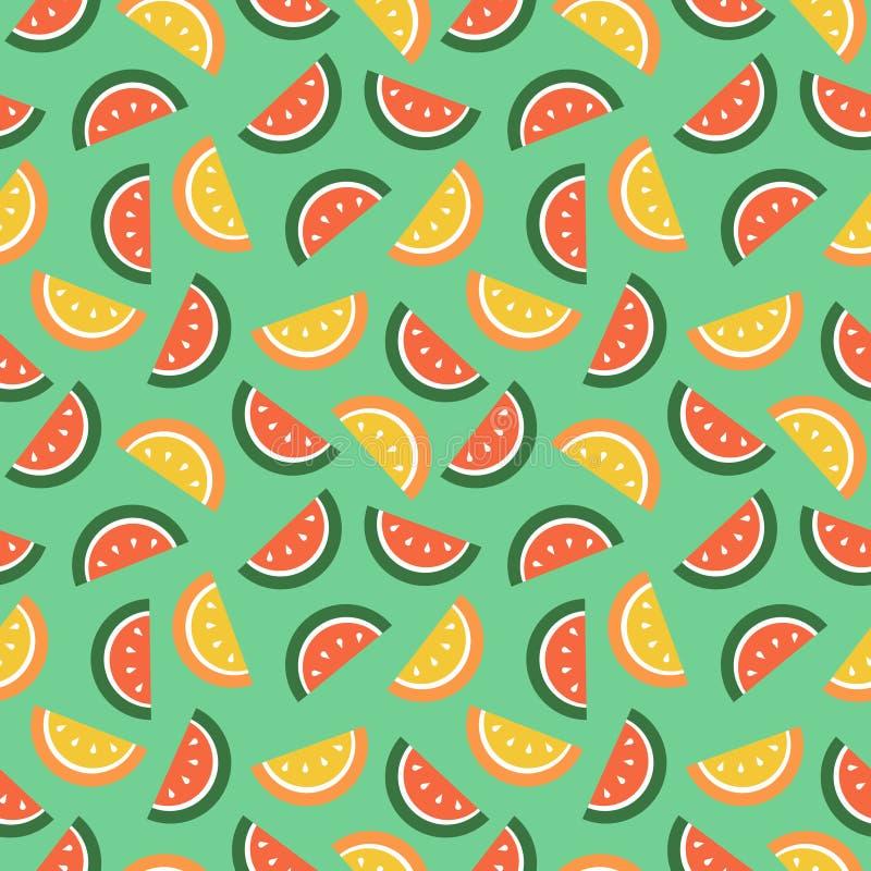 Naadloos vectorpatroon, vruchten heldere chaotische achtergrond met watermeloenen vector illustratie