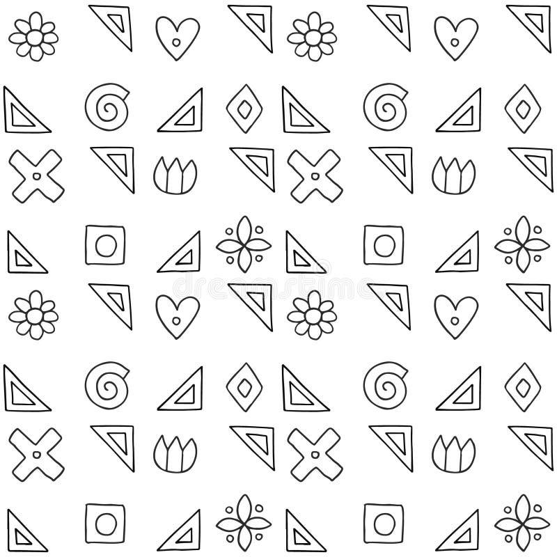 Naadloos vectorpatroon, zwart-witte geometrische achtergrond met bloem, blad, harten, kruis, vierkant Druk voor decor, behang vector illustratie