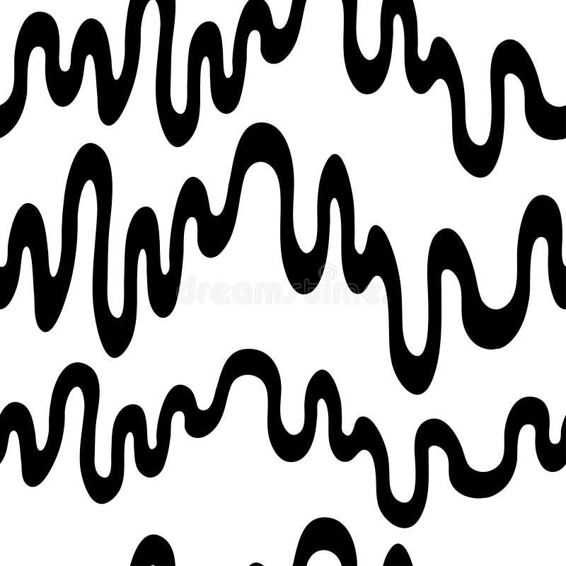 Naadloos vectorpatroon Zwarte hand getrokken horizontale golvende lijnen op de witte achtergrond stock fotografie