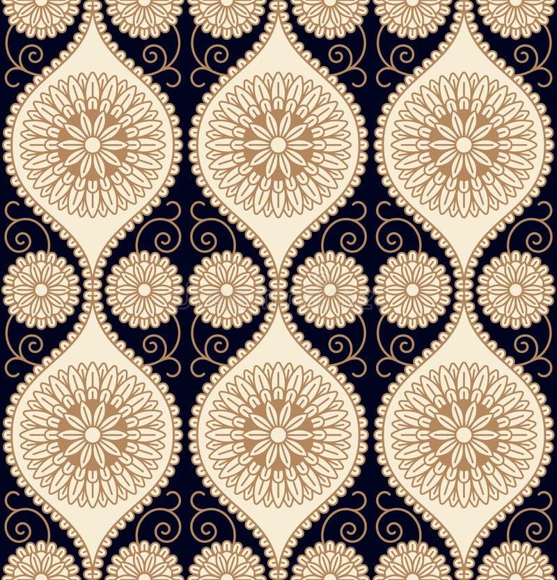 Naadloos vectorpatroonontwerp met cirkel bloemenornament naadloos malplaatje in monsterpaneel stock illustratie