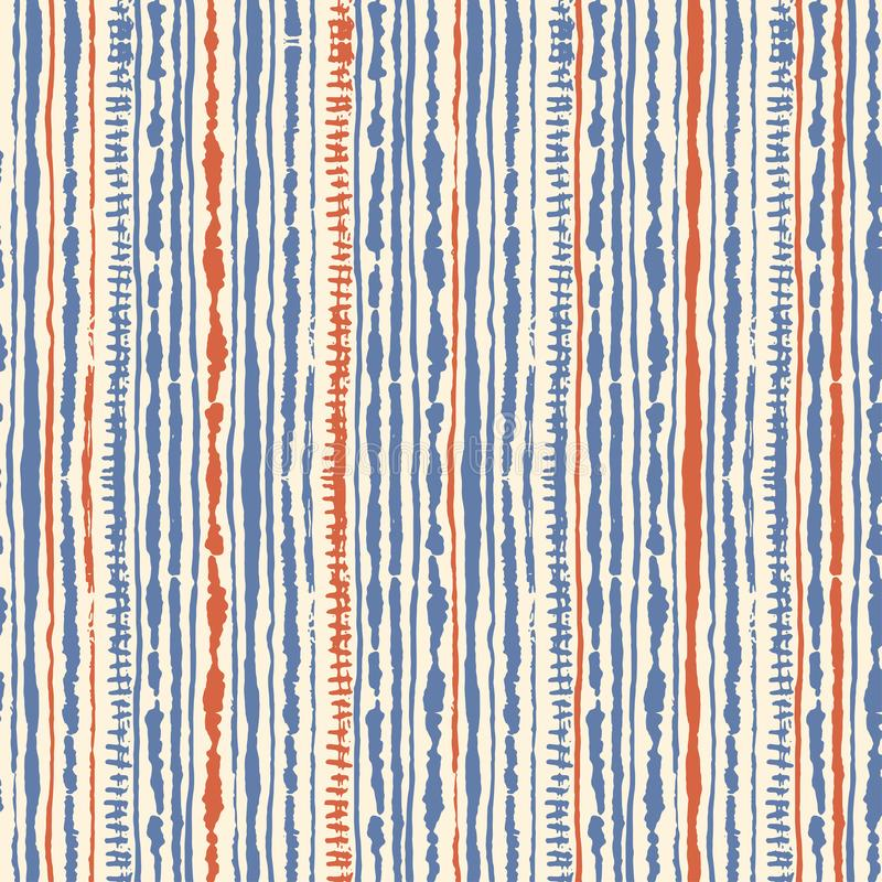 Naadloos vectorshibori band-kleurstof patroon van blauwe en rode kleuren op wit Hand het schilderen stoffen - knoestige batik stock illustratie