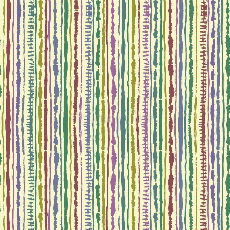 Naadloos vectorshibori band-kleurstof patroon van indigokleur op witte zijde Hand het schilderen stoffen - knoestige batik stock illustratie